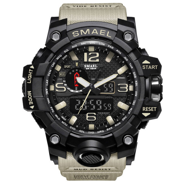 SMAEL Brand Men`s Sports Watches Dual Display Analog Digital Clock LED Electronic Quartz Wristwatches Waterproof Watch