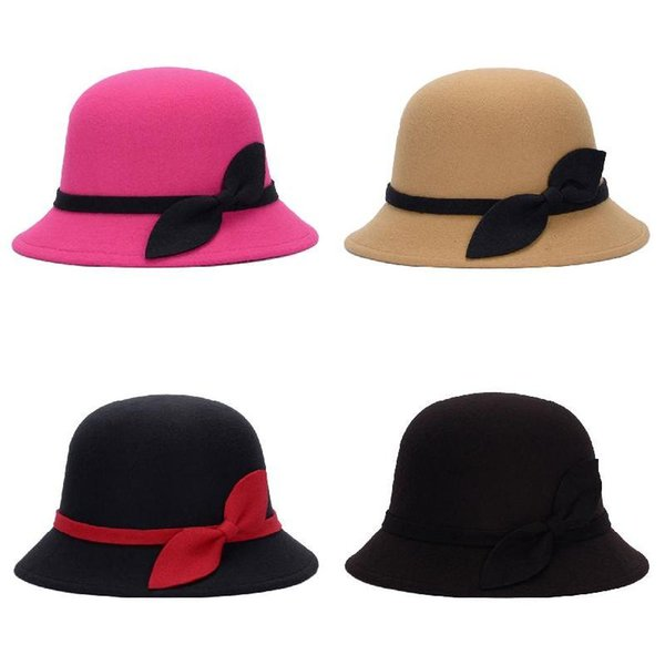 Cute Fashion Ladies Women Faux Wool Felt Bucket Hats Cloche Bowler Cap with Bowknot -MX8
