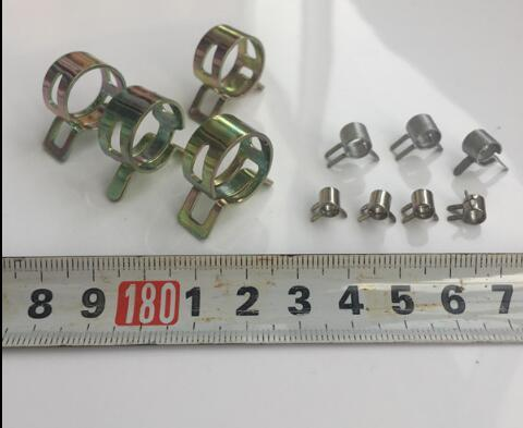 top popular 10PCS 4mm to 25mm Hand to knead Spring Clip Manganese steel Pipe Clamp Hose Hoops Automotive Tubing Elastic Clamp Pipe Card Holder 2021