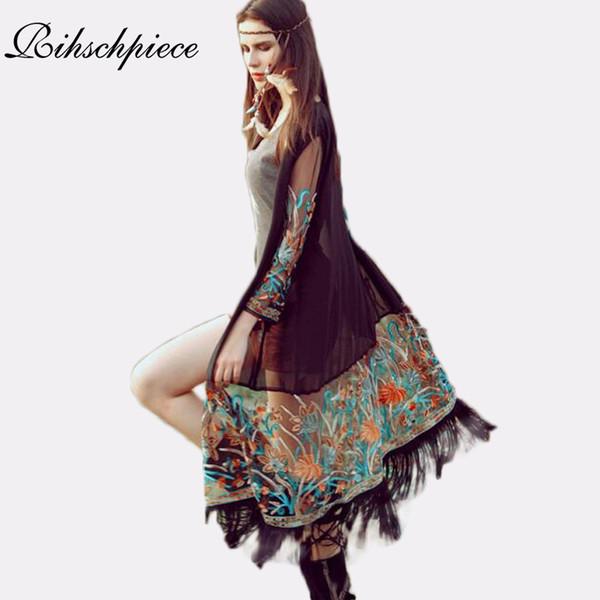 Rihschpiece Sommer Frauen Blusen Kimono Cardigan Boho Vintage Chiffon Bluse Blumenstickerei Top Crochet Kleidung RZF1046