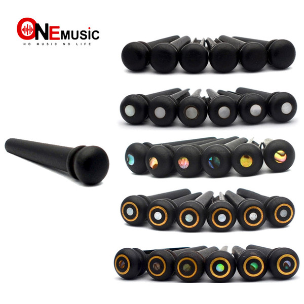 best selling GETMusic 60PCS LOT EBONY Acoustic Guitar Bridge Pins Real Shell Dot Guitar Pressure String Nails Pin Guitar Parts Black