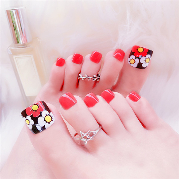 Cute Cartoon Flowers Finished False Nails Cartoon Design Full Short Fake  Nail Tips Toe Feet Patch Manicure Tools Young Nails Natural Nails From