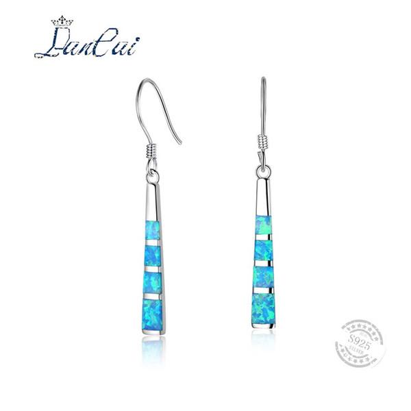 LANCAI New Fashion Silber Blau Feueropal Quasten Ohrringe 925 Sterling Silber Lange Ohrringe für Frauen Edlen Schmuck Geschenk