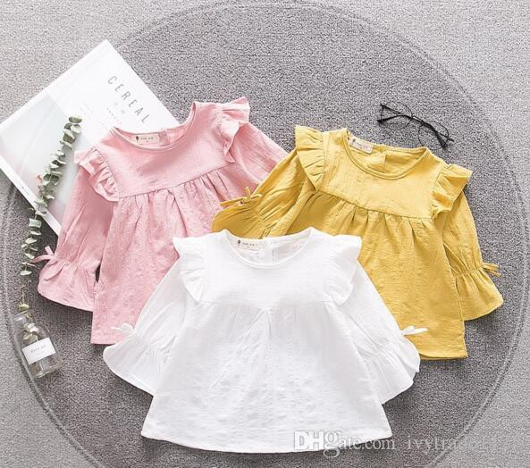INS fall NEW arrival Girls Kids solid colo shirt long Sleeve round collar shirt kids causal 100% cotton girl causal T shirt 3 colors