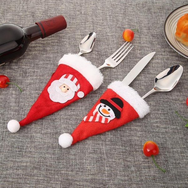 Wholesale Christmas Hat Cutlery Bag Candy Gift Bags Cute Pocket Fork Knife Candy Holder Table Dinner Decorative Tableware Navida