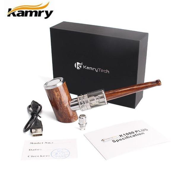 Подарок Kamry K1000 плюс E трубы стартовый комплект дерево курительная трубка Vape Epipe Mod испаритель светодиодные кольца 1000mah батареи Ecigs бак атомайзер