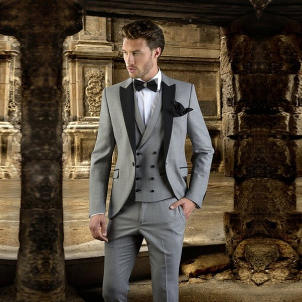 2018 Grey With black Laple Men Suit Slim Fit Prom Wedding Tuxedo (Jacket+Pants+Vest) Modern Blazer Wedding Groom Suits Regular