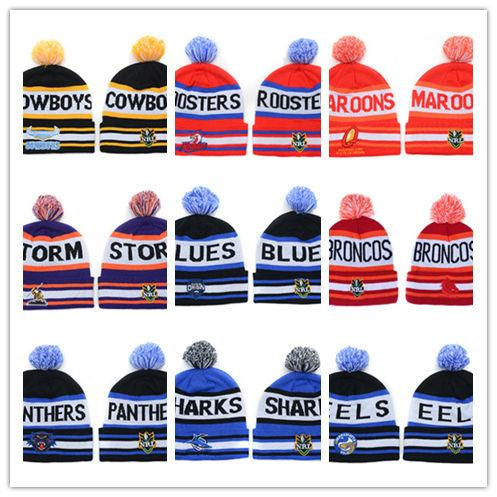 edd562fab17 Good Sale Sydney Roosters NRL Team Winter Beanies Hats for Men Women Ski  Snow Pom Knit Beanies Caps Hot