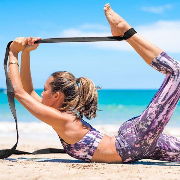 8 Piedi Cotone Yoga Cinghia allungata Cintura addensata Migliore per lo stretching Fitness Palestra durevole con fibbia metallica D-Ring