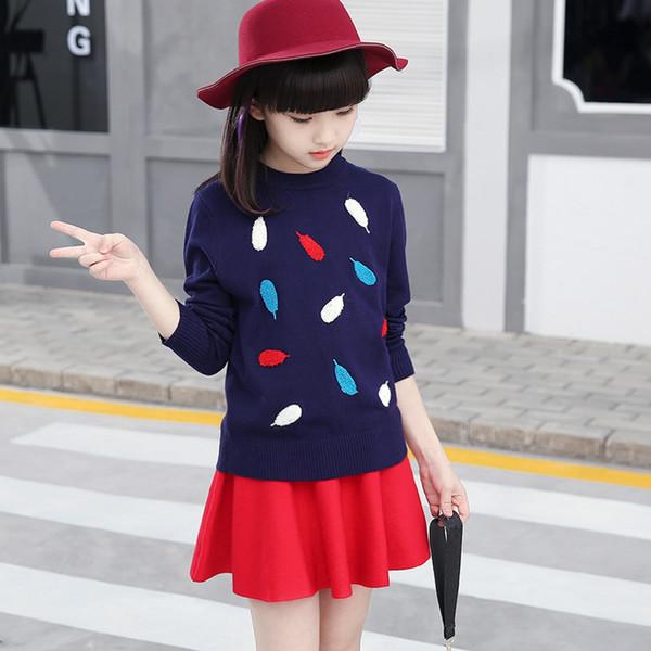 Torna a scuola Outfits Teenage Girls Maglione 2018 Autunno Baby Girl Inverno Vestiti a maniche lunghe maglione lavorato a maglia Pull Fille 10 12