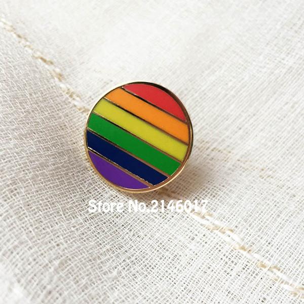 100 adet Gökkuşağı Sevimli Benzersiz Eşcinsel Gurur LES Lezbiyen Yaka Pin Renkli Yuvarlak Metal Zanaat Özel Rozet Sert Emaye Pimleri ve Broş