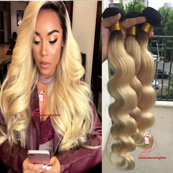 New Item Malaysian Ombre Hair 1b Platinum Blonde Human Hair Body Wave Weave Cheap 613 Ombre Hair Extensions Mixed 10 26 Deep Wave Human Hair Weave