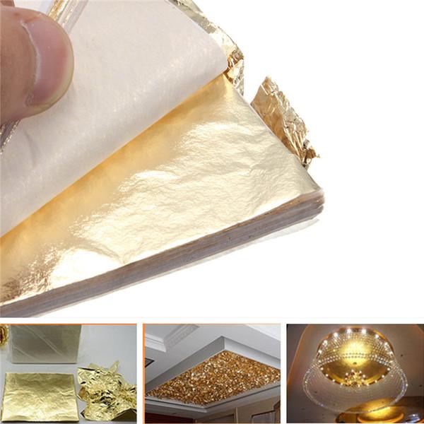 100pcs Gold Foil Paper Sheet Gold Foil Leaf Gilding Leaf Sheets For DIY Handcraft Paper Decorative Material Cooking Decor