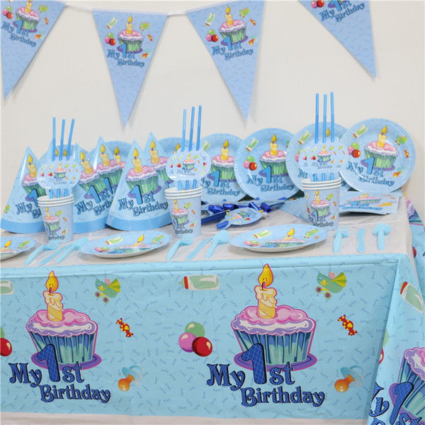 102pcs Kids First Birthday Party Set 10 People Girl Boy 1st Theme Supplies Baby Pack
