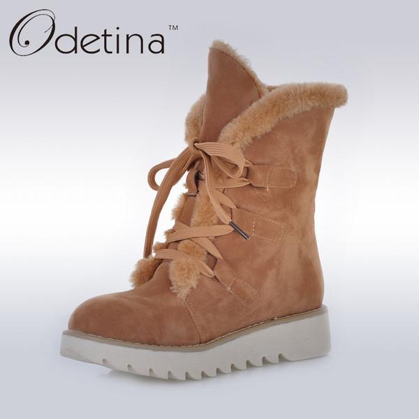 Odetina Brown para mujer de piel de gamuza forrada botas antideslizantes 2016 invierno mujer botines con cordones plataforma de peluche botas de nieve de gran tamaño