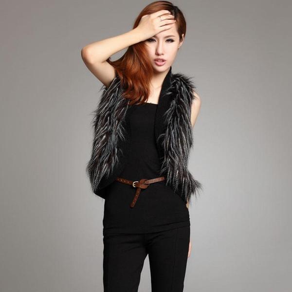 women imitation fur jacket coat short section long hair vest artificial peacock coat jacket for women lady