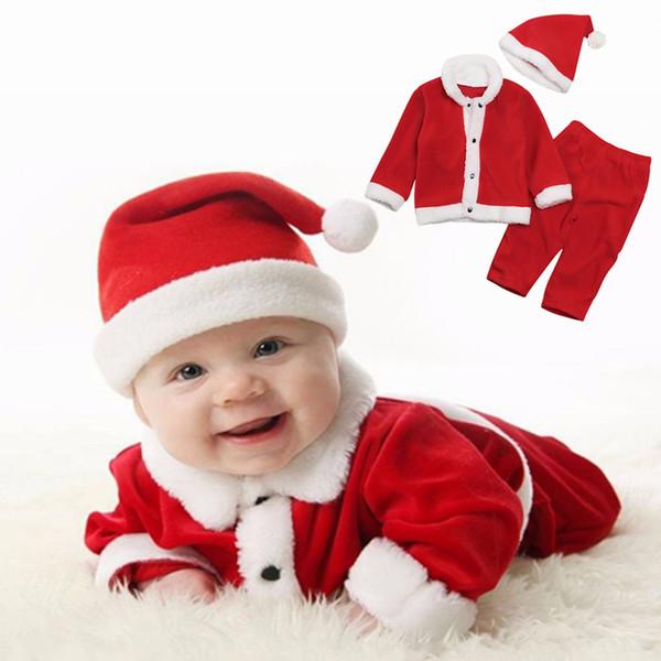 Baby Kids Christmas Clothing Sets 3pcs Top+ Pants +Hat Hoodies Sweatshirts winter Boys girls Xmas NNA719