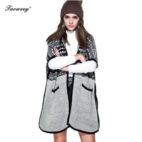 2018 warm knitted pocket outerwear Hooded knitting long cardigan sweater Women jumper back lace up sweater Female coat
