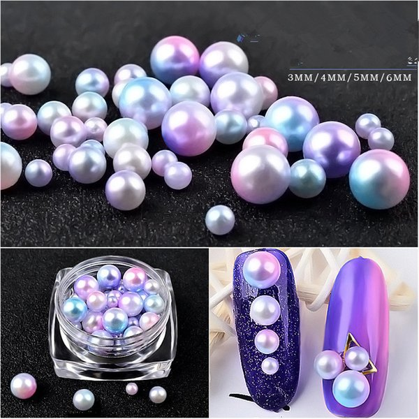 1 boîte de sirène Peals Nail Art Mixte Taille Perles Gradient Ball Pearl Circle Semicircle 3D DIY Nail Studs Strass Décoration