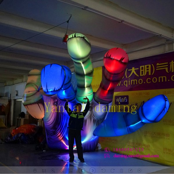 Outside Decor Giant advertising inflatable decoration factory price Halloween Inflatable Hand with LED Strip