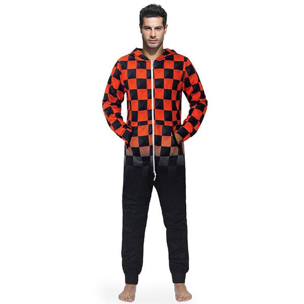 Erkekler Sıcak Teddy Polar Onesie Kabarık Uyku Salonu Yetişkin Pijama Tek Parça Pijama Erkek Tulumlar Kapşonlu Onesies Erkekler Pijama Gecelik