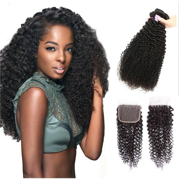 Perstar Hairs Péruvien Kinky Bouclés Vague 4 Bundles Avec Fermeture 100% Bundles De Cheveux Humains Avec Fermeture En Dentelle Tissage De Cheveux