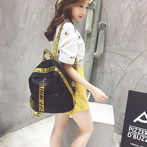 Nueva gran capacidad de las mujeres de nylon bolso de hombro de moda carta de la moda bolso de la universidad viento bolso de escuela