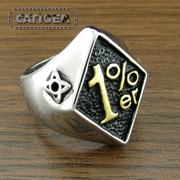 Free Shipping ! Punk Gold Plated Black Steel color 1%er 316L Stainless Steel Ring Rock Number One Percent Men's Biker Club Rings Jewelry