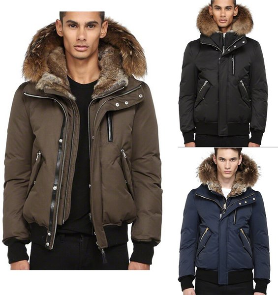 DHL Free Shipping Men's High-End Down Jacket Dixon-F4 Winter Down Bomber Jacket With Fur Hood 90% White Duck Down Windproof Warm Parkas
