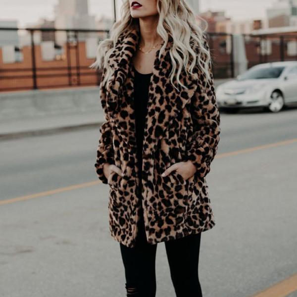 Alta qualidade de Luxo Faux Fur coat para Mulheres Casaco de Inverno Quente Moda Leopardo de pele artificial Casacos de Mulher Jaqueta T8