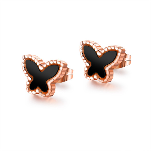 Butterfly Lady Stud Earrings Titanium Steel Rose Gold Color Earrings Student Earrings Holiday Gifts