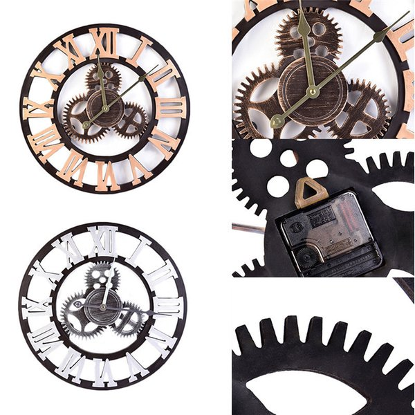 "Bulk 15.75"" Retro Art Luxury Gears Wall Clocks Watch Stickers Home Decor Bedroom Decoration Wall Mirror wallpaper Household Craft Suppiles"