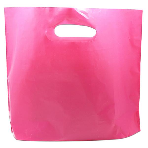 50 Pçs / lote Rose Saco De Plástico Vermelho Roupas Sundries Tirar Saco de Embalagem Snack Doces Artesanato Embalagem Bolsa com Alça