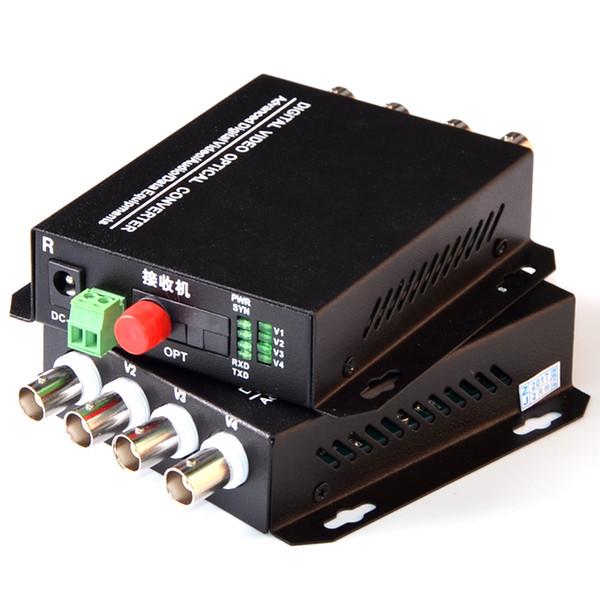 1 Paar 2 Stücke / Los 4-Kanal-Video Optical Converter 4V1D Glasfaser Video Optischer Sender-Empfänger 4CH + RS485 Daten