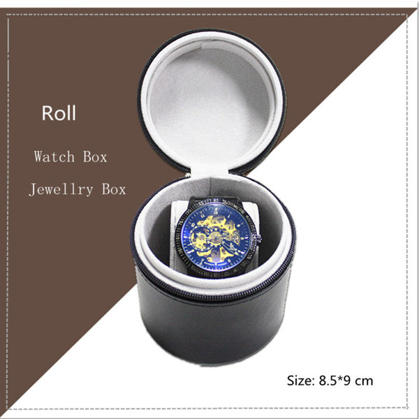 2018 PU Business Watch Box Nero Roll Mens Watch Storage Box Singolo pacchetto regalo donna con cerniera C028