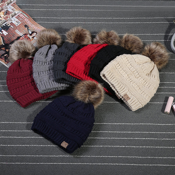 2017 Winter Stylish Women Faux Fur Pom Pom CC Knitted Beanie Hat Warm  Thicker Skullies Hats Fashion Bonnet Solid Beanies Caps c7a97349d35f
