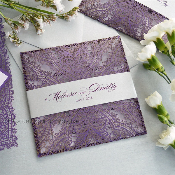 PURPLE LACE Laser Cut Wrap Invitation - Square Laser Cut Wedding Invitation with Ivory Insert, Envelope and Ivory Belly Band