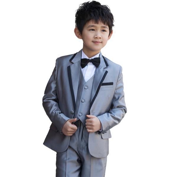 Three Style Grey kids wedding suits Boys Formal Occasion Children Wedding Suit Boys Attire Bespoke Kid Tuxedo
