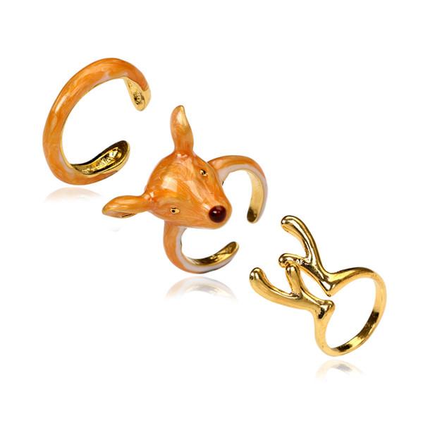 3pcs/Set Unique Design Fashion Enamel Dear Rings Set for Women Yellow Deer Head Gold Cuff Statement Rings Jewelry Accessories Wholesale
