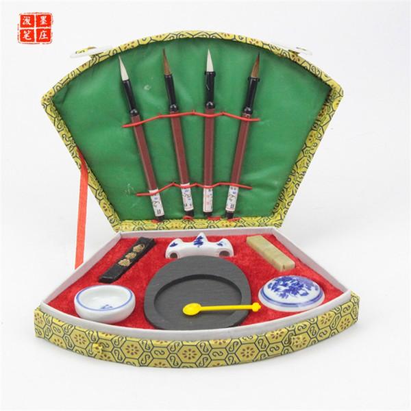 Sektor Chinesische Kalligraphie Artikel Set Klassische Pinsel Stift Tinte Tintone Tool Box Student Supplies Geschenk Hohe Qualität 19 wg Ww