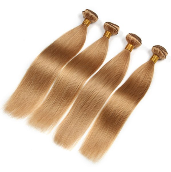Brazilian 9A Human Hair Straight Wave Hair Bundles Pure Color Honey Blonde #27 Hair Weaves 3 Bundles For Woman