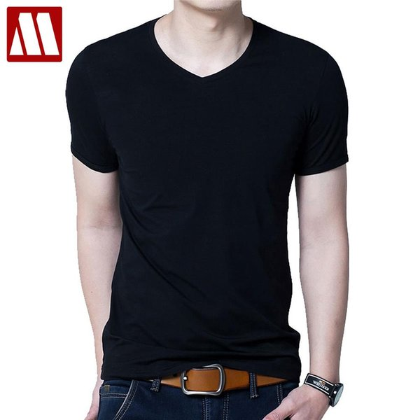 Male solid color T Shirts men's V neck under shirt fashion Slim Fit T-shirts man summer short sleeve tees Asia size S-XXXXXL