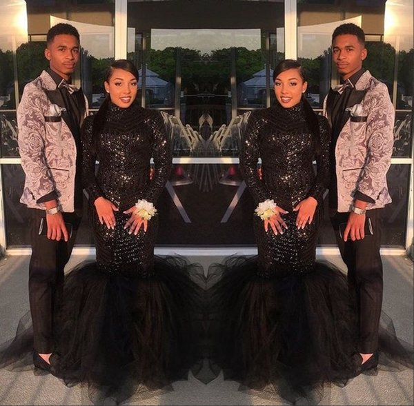 Sexy Plus Size Black Sequined Mermaid Prom Dresses 2018 Long African Girl Formal Evening Dresses Gowns