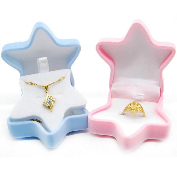 2018 new Fashion Starfish Jewelry Box Necklace Ear Stud Ring Velvet Display Box For Gift Engagement Wedding Storage Box