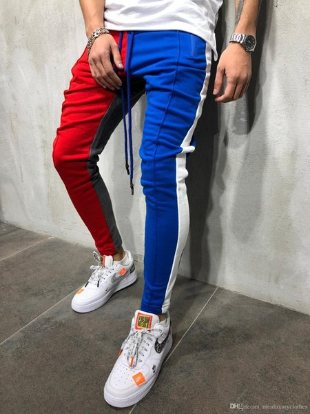 Winter Men Clothing Stylish HIPHOP Slim Fit Pants Colors Patchwork High Street Rap Dancing Pencil Pants