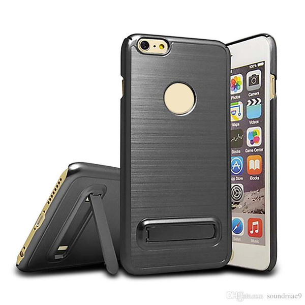 For Iphone X 8 7 6 6S Plus Samsung S8 Plus S7 Edge Brushed Case With Kickstand TPU PC Hybrid Cell Phone Case OPP BAG