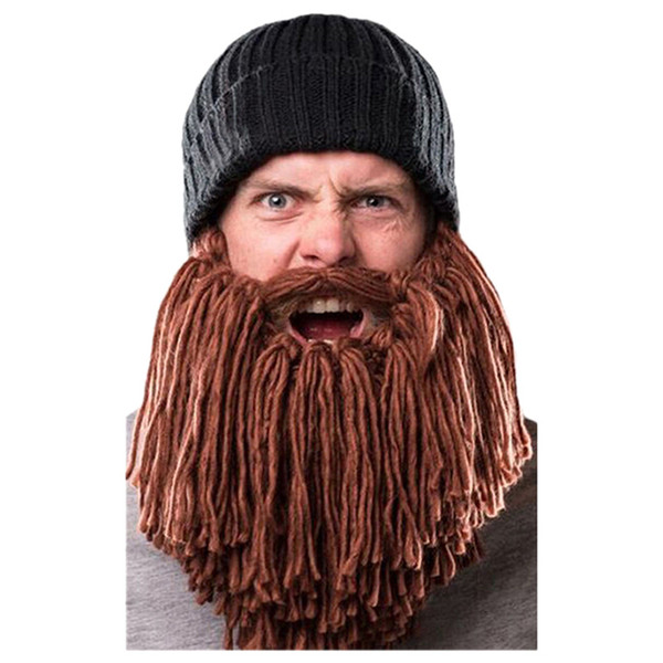 Men Warm Wool Beanie Beard Face Mask Crochet Winter Ski Cosplay Prop Caps Hats, Black