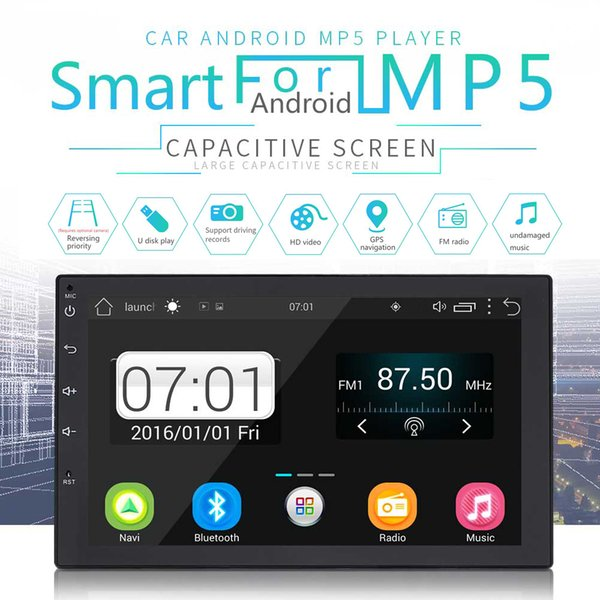 7 Inch QUAD Core Android 7.0 2Din Bluetooth Car Radio Stereo MP5 Player Digital Touch Screen GPS Navigation Support Mirror Link CMO_22O