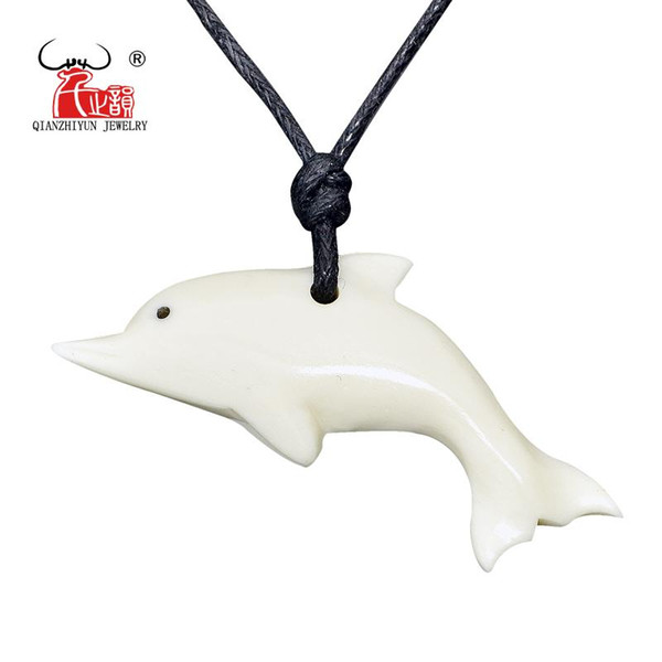 1PC New Zealand Maori Handmade Carved Ox Bone Necklace WHITE DOLPHIN Pendant Unisex Hawaii Surfer Choker Tribal