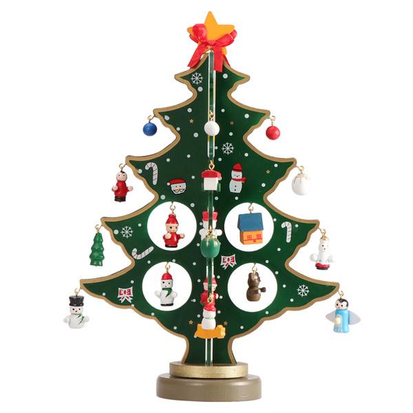 Christmas Ornaments Wooden Mini Christmas Tree Desktop Decoration Arts Crafts Kids Gift Home Party Wedding Decor 30CM (Green)